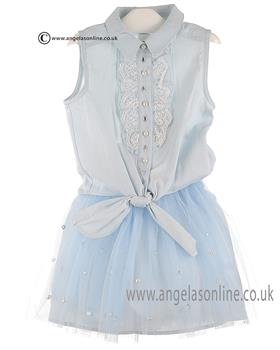 Kate Mack Girls Top & Skirt 193/196PR Blue