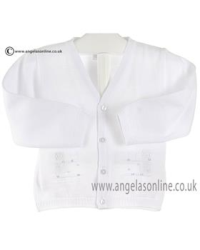 Pex baby boys knitted cardigan Riley B6261 White