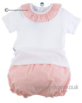 Babidu Baby Girls Ruffle Neck Top/Bloomer 41306 Pink