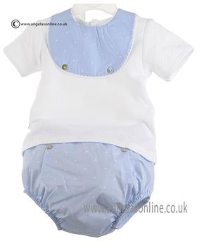 Babidu Boys Short Sleeve Bib Top & Shorts 46306 Blue