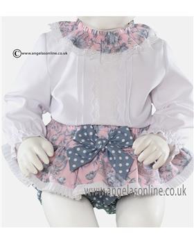 Miranda baby girls blouse & frilled jam pant 20-0141-23 Pink