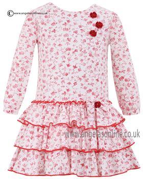 Sarah Louise girls red floral print dress 010560