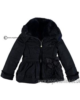 S&D Le Chic Girls Satin Bow Jacket C6075203 Navy