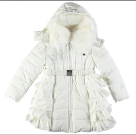 S&D Le Chic Girls Long Ruffle Coat C6075205 Cream
