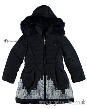 S&D Le Chic Girls Print Coat C6075206 Navy