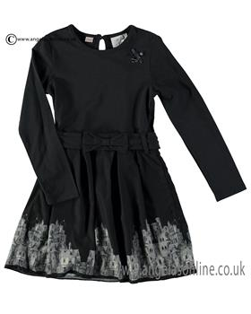 S&D Le Chic Girls Belted Print Dress C6075825 Navy