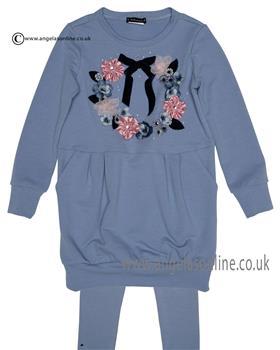 Kate Mack Girls Tunic Dress & Legging 539-547IR Blue
