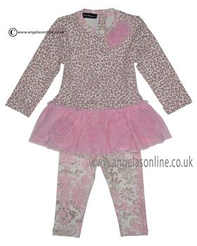 Kate Mack Baby Girls Top & Legging 500FF PK/GR