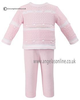 Sarah Louise Baby Girls 2 Pce Set 008019 Pk/Wh
