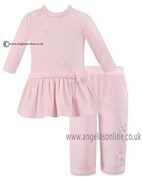 Dani baby girls velour dress  & trouser D09069-67 Pink