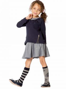 Deux Par Deux Girls Dress G90 Navy