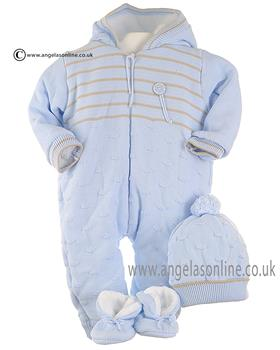 Pretty Original baby boys knitted snowsuit & hat JPC4052E BL/WHE