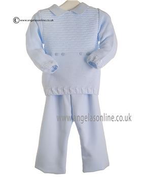 Pretty Originals baby boy knit top & trouser JPC2185 BL-WH