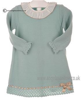 Granlei baby girls knitted dress 2-1217 Green-Camel