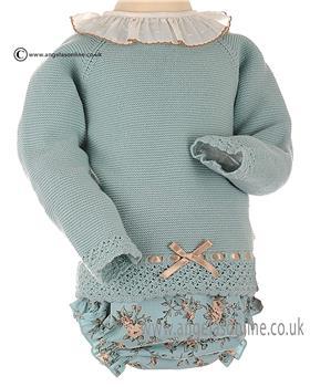 Granlei Baby Girls Knitted Top & Floral Jam Pants 2-1227 Green
