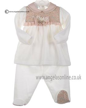 Stella baby girls velour tunic top & footsie DD4616 Ivory