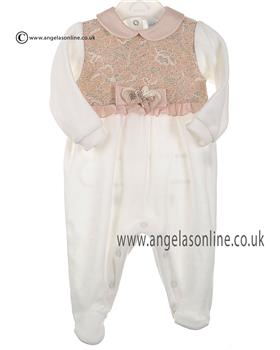 Stella baby girls velour all in one DD4614 Ivory