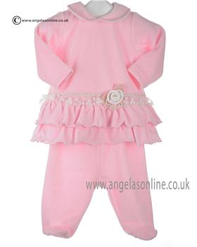 Stella baby girls velour tunic top & footsie DD1017 Pink