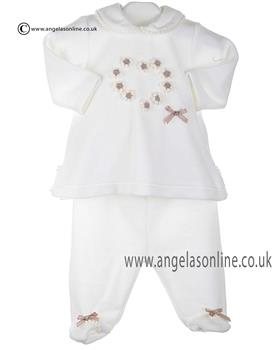 Stella baby girls velour tunic top & footsie DD3516 Ivory