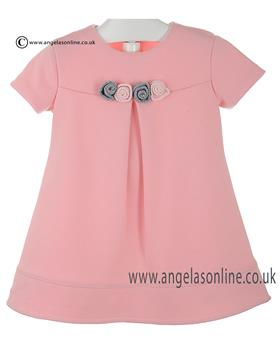 Bufi Girls Short Sleeved Rosette Dress 9807X Pink