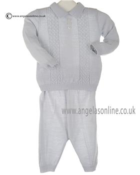 Bufi Baby Boys Knitted Jumper & Pants 9350M Grey