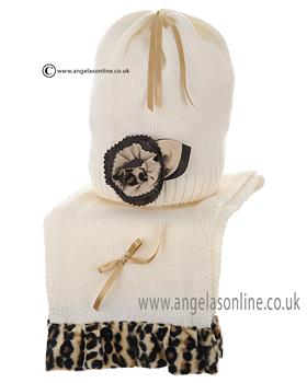 Bufi Baby Girls Hat & Scarf 9103SC