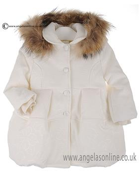 Bufi Girls Padded Coat with Fur Trim 9822S Cream