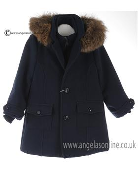 Bufi Boys Fur Hooded Coat 9803A Navy