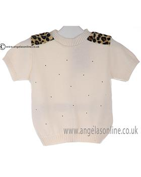 Bufi girls short sleeve jumper & leopard print shoulders 9738M