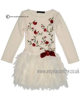 Kate Mack Girls Rose Dress 237BB Ivory