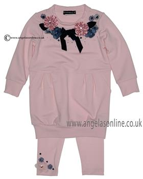 Kate Mack girls tunic dress & legging 538-547IR Pink