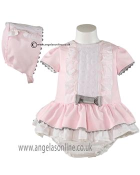 Miranda baby girls dress, panties & hat 21-0144-VBG Pink