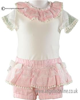 Miranda baby girls top & frilled shorts 21-0164-23 Pk/Wh