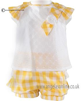 Miranda baby girls blouse & shorts 21-0182-23 Yellow