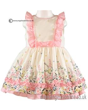 Miranda girls short sleeve dress with floral design 21-0261-V Pink