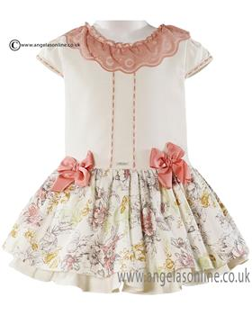 Miranda dropped waistline dress with floral skirt 21-0277-V