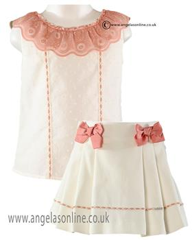 Miranda girls blouse & skirt 21-0278-2/21-0278-F Beige