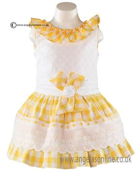 Miranda girls top & checked skirt 21-0282-2/21-0282-F Yellow