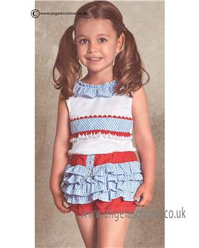 Miranda girls top & frilled shorts 21-0294-2/21-0294-3 Wh/Rd