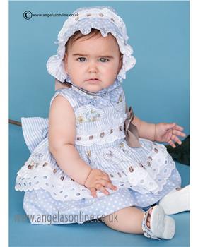Dolce Petit baby girls frilled dress 21-2126-V Blue
