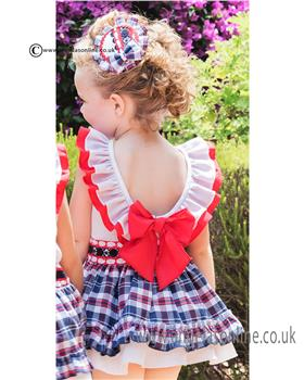 Dolce Petit girls dress with tartan skirt 21-2267-V