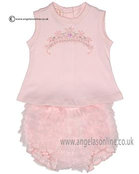 Kate Mack baby girls top & bloomers 312PR Pink