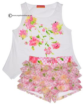 Kate Mack T-shirt & short set 518-519GG Wh/Pk
