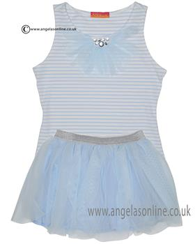 Kate Mack girls tee & netted skirt set 608-609DD Blue