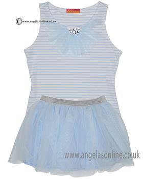 Kate Mack girls tee & netted skirt set 608-609DD Blue