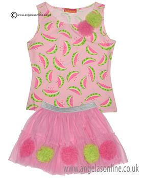 Kate Mack girls tank top & netted skirt 653WW Pink