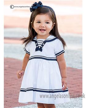 Sarah Louise girls dress 010814 Wh/Ny