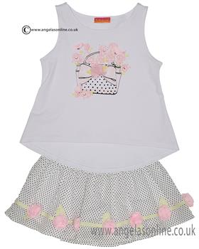 Kate Mack girls top & voile skirt set 593-594PR Wh/Blck