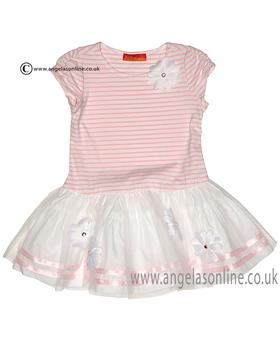 Kate Mack girls stripped dress 607DD Pink
