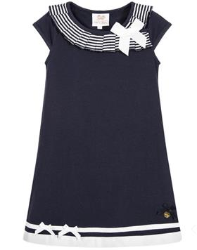S&D Le Chic Girls Dress With Bow C6115801 Navy